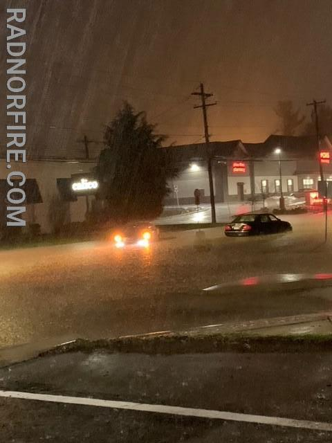 Several cars were caught in floodwaters near the intersection of Lancaster Ave. and Old Eagle School Rd. near the border of Radnor Township and Tredyffrin Township. Photo courtesy of Laura Buongiornio