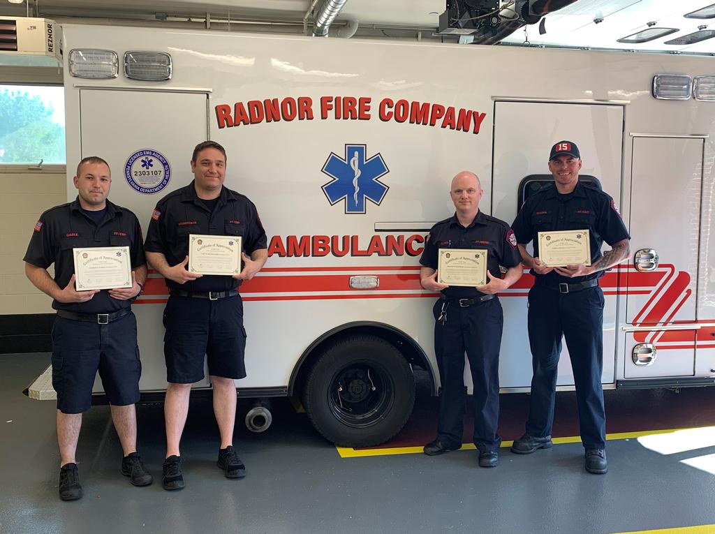 Career staff and volunteers are being recognized as part of National EMS Week.   (L-R) FF/EMT Andrew Gable, FF/EMT Carl Weisbecker, FF/Medic Bill Elder and FF/EMT Jerry Woods